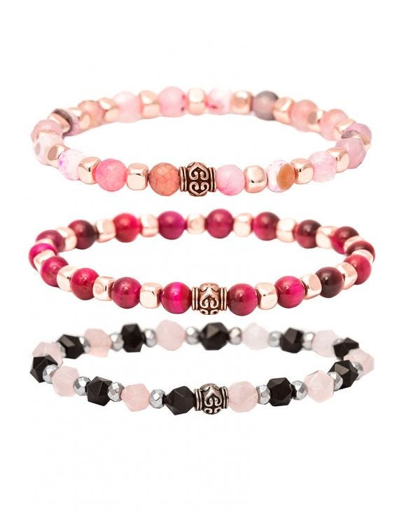 SET OF THREE BRACELETS WITH PINK SHADES