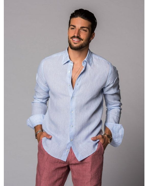 LINEN SHIRT IN LIGHT BLUE