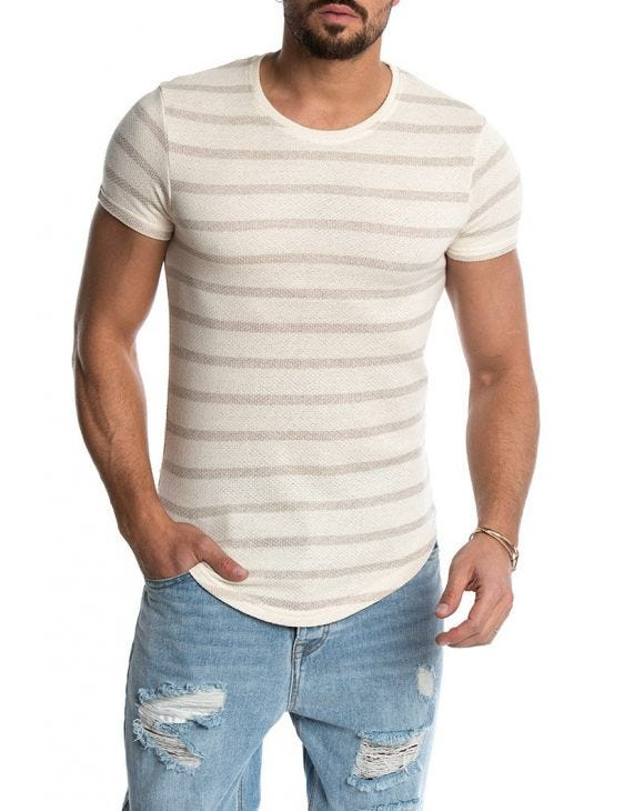 OZZY STRIPED T-SHIRT IN DOVE AND CREAM