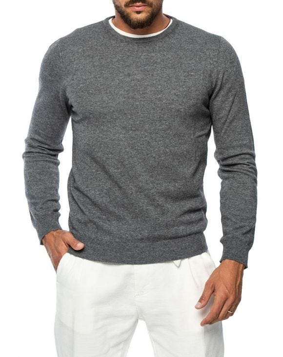 GASTONE PATCH SWEATER IN GREY