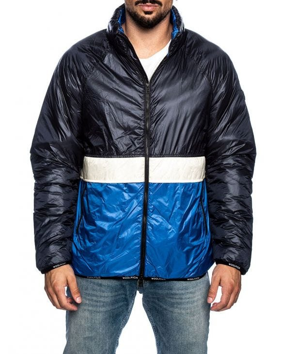 PACK-IT DOWN JACKET IN WHITE AND BLUE