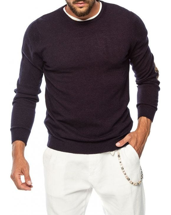 GASTONE PATCH SWEATER IN DEEP PURPLE