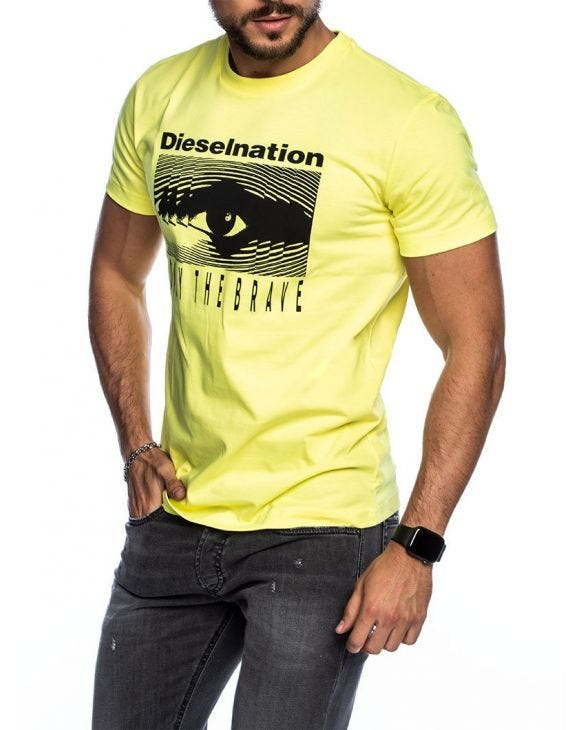 T-DIEGO J4 PRINTED T-SHIRT IN YELLOW