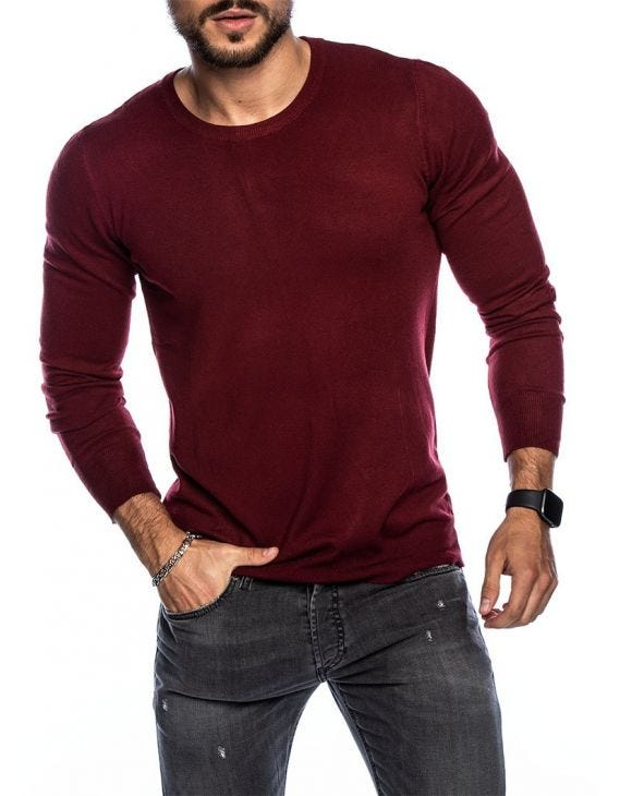 LARRIE CREWNECK SWEATER IN BORDEAUX