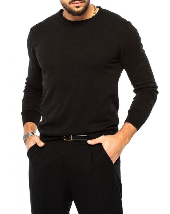 LEON CREWNECK SWEATER IN BLACK
