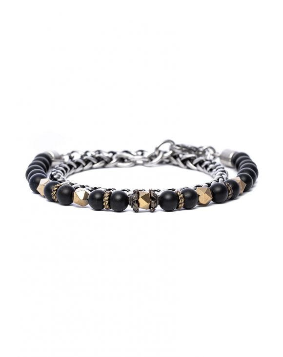 KAPIL DOUBLE CHAIN BRACELET IN BLACK AND GOLD