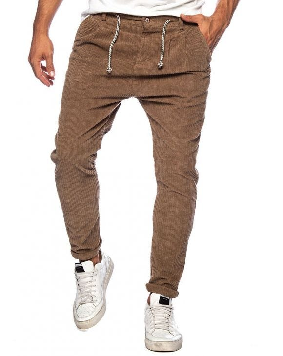 BARCLAY CASUAL PANTS IN CAMEL VELVET