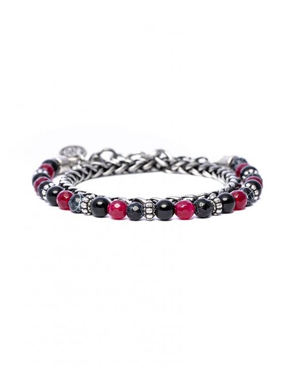 KANAK DOUBLE CHAIN BRACELET IN RED