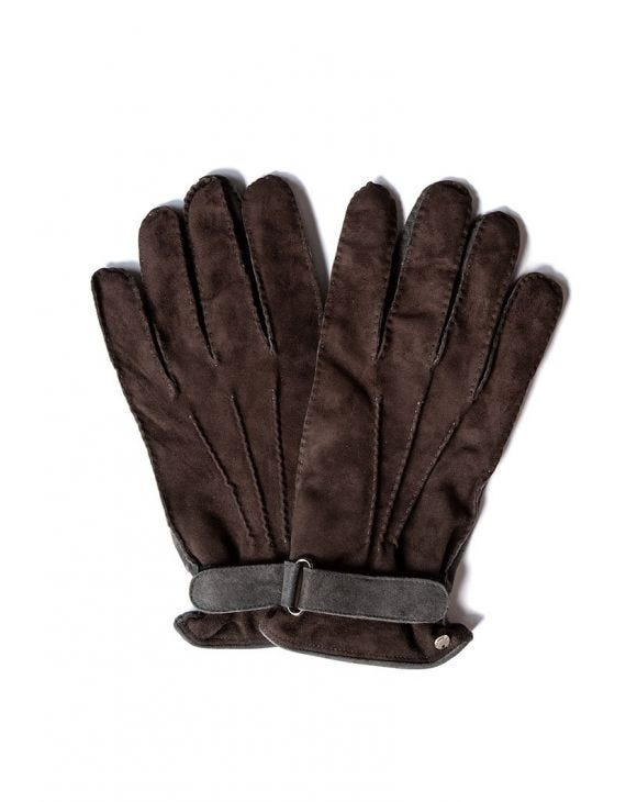 STRAP GLOVES IN GREY AND BROWN