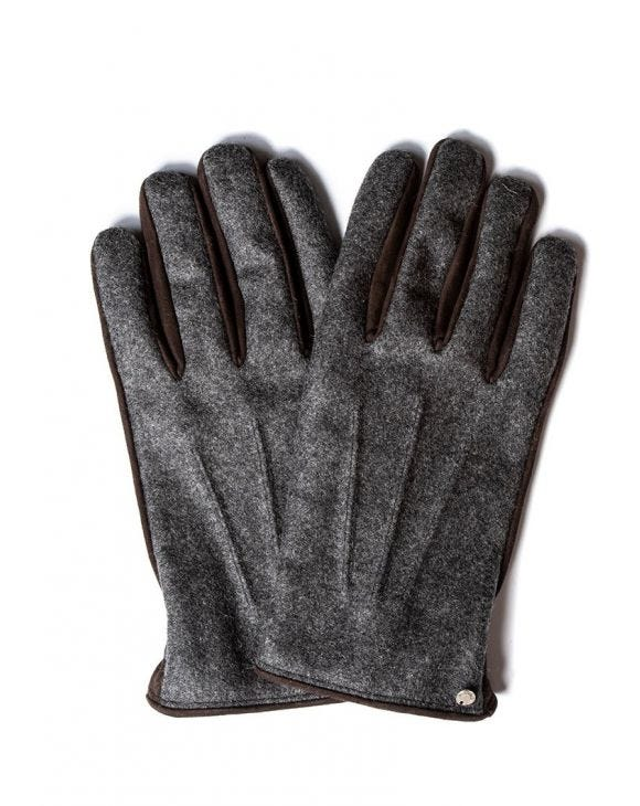 FLANNEL GLOVES IN GREY AND BROWN