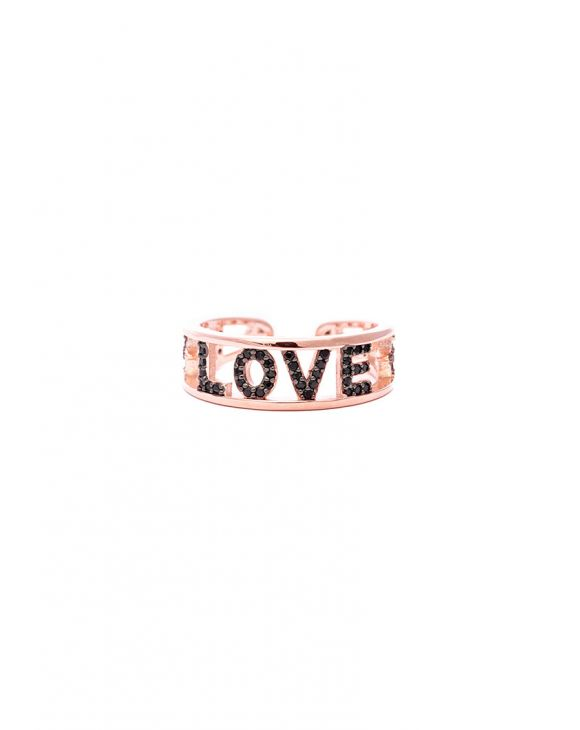 LOVE LETTER RING IN ROSE GOLD WITH BLACK ZIRCONS