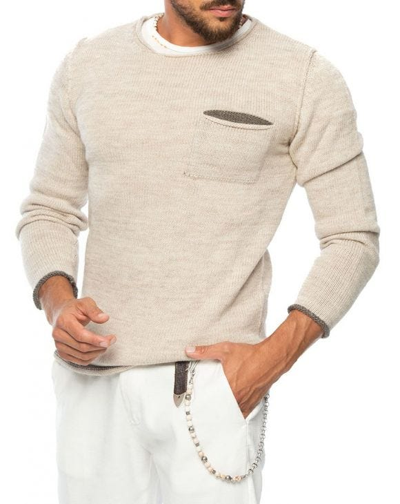 KNITTED SWEATER WITH CHEST POCKET IN BEIGE