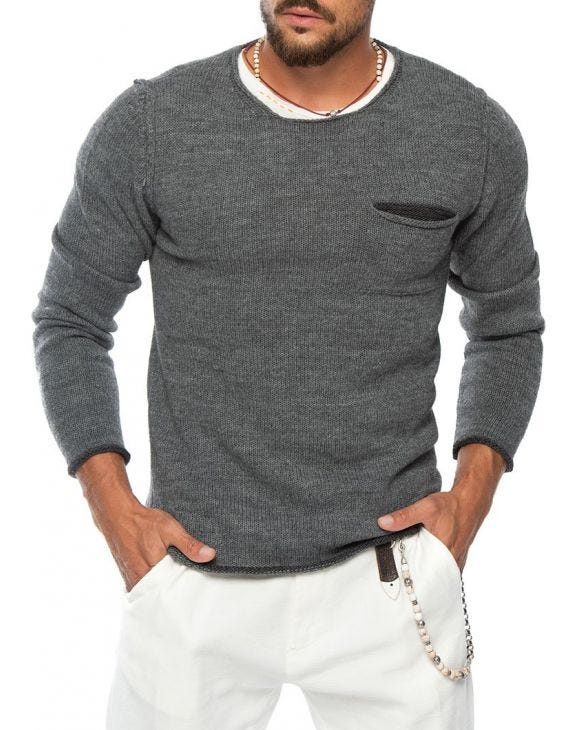 KNITTED SWEATER WITH CHEST POCKET IN GREY