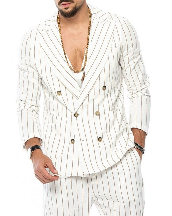 DYLAN DOUBLE BREASTED BLAZER IN WHITE AND RUST