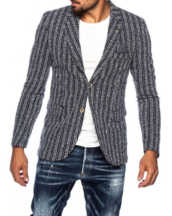 COOPER SINGLE BREASTED BLAZER IN GREY AND BLUE