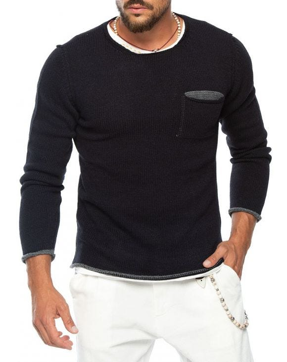 KNITTED SWEATER WITH CHEST POCKET IN BLUE