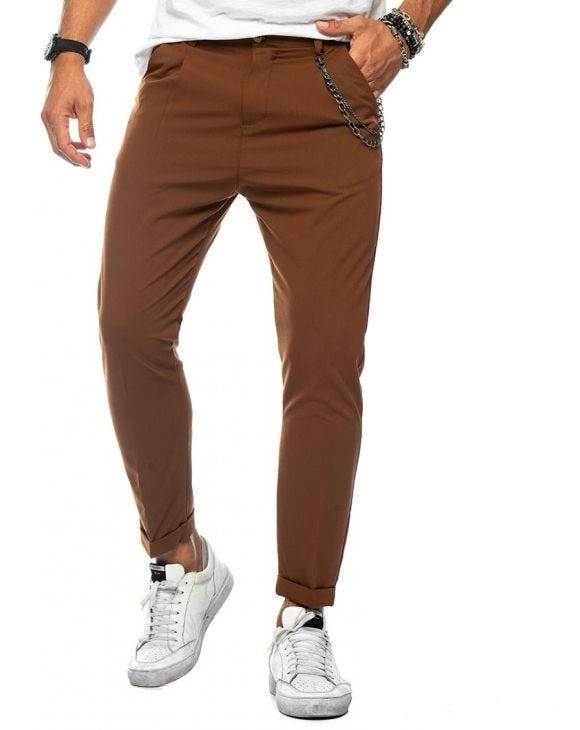 NEAL PANTALONI CASUAL IN RUGGINE