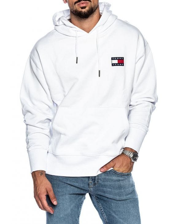 TJM TOMMY BADGE HOODIES IN CLASSIC WHITE