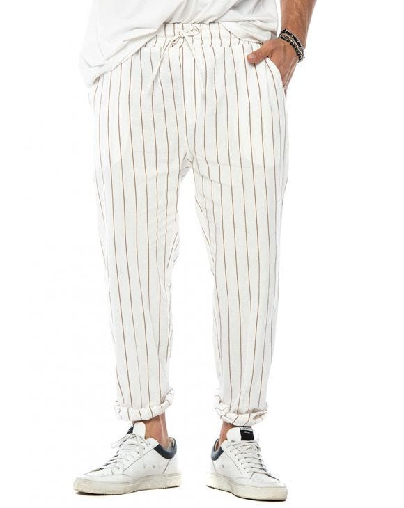 DYLAN CASUAL PANTS IN WHITE AND RUST