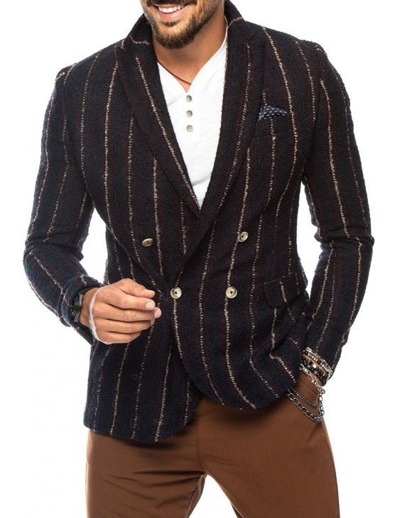 GILER DOUBLE BREASTED BLAZER IN BLUE AND BORDEAUX