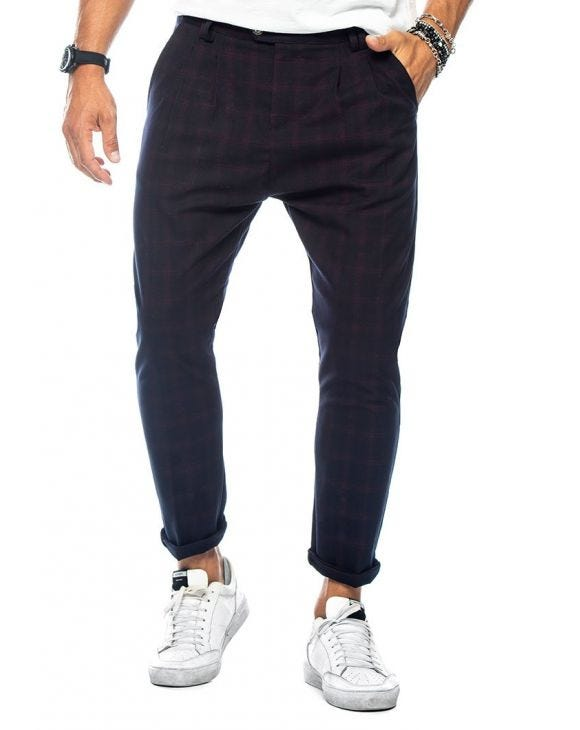 CHEYENNE CASUAL PANTS IN BLUE AND BORDEAUX