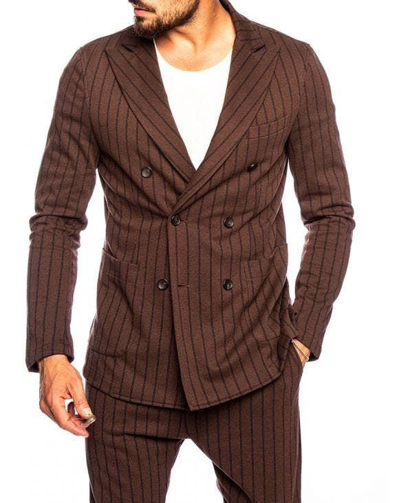 ANUBIS DOUBLE BREASTED BLAZER IN BROWN