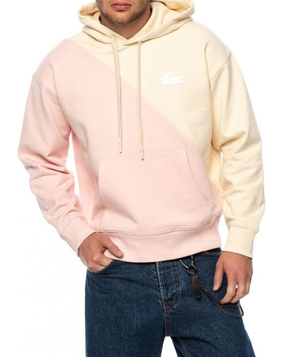 LACOSTE LIVE HOODIE IN PINK AND CREAM