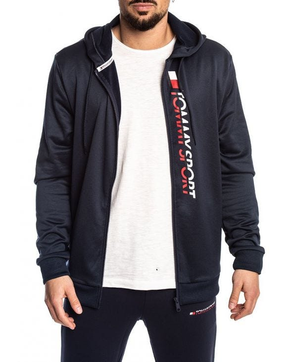 TOMMY SPORT ZIP THROUGH LOGO FELPA BLU NAVY