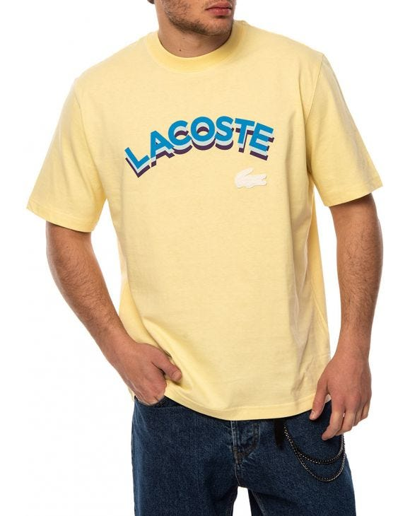 LACOSTE LETTERED T-SHIRT IN YELLOW