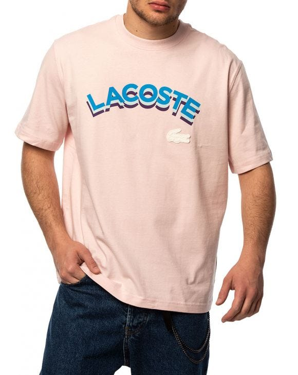 LACOSTE LETTERED T-SHIRT IN PINK