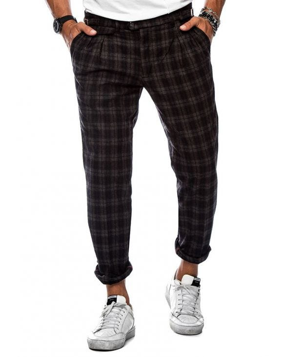 ALDOUS CHECKED PANTS ANTHRACITE