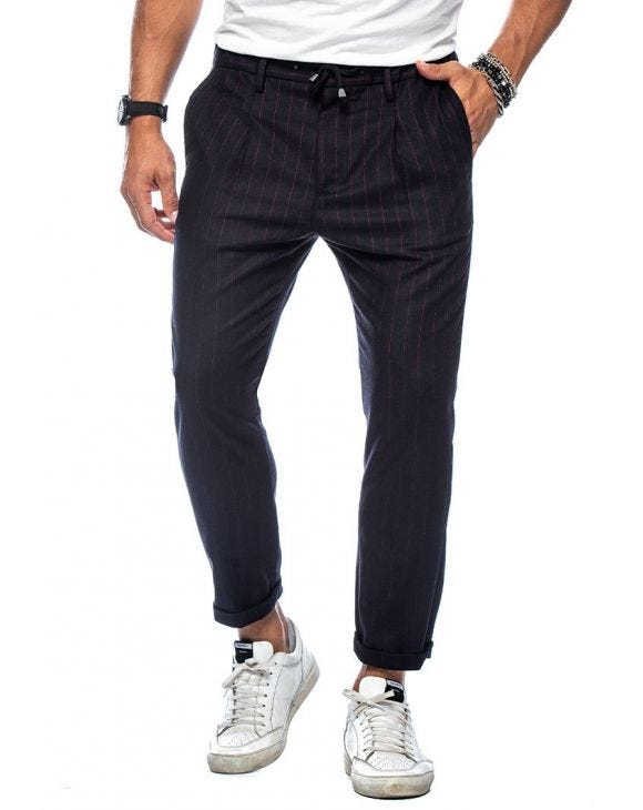 REDWOOD PANTALONI A RIGHE BLU NAVY