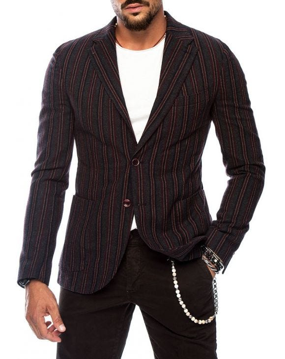 IRVIN BLAZER IN BLAU UND BORDEAUX