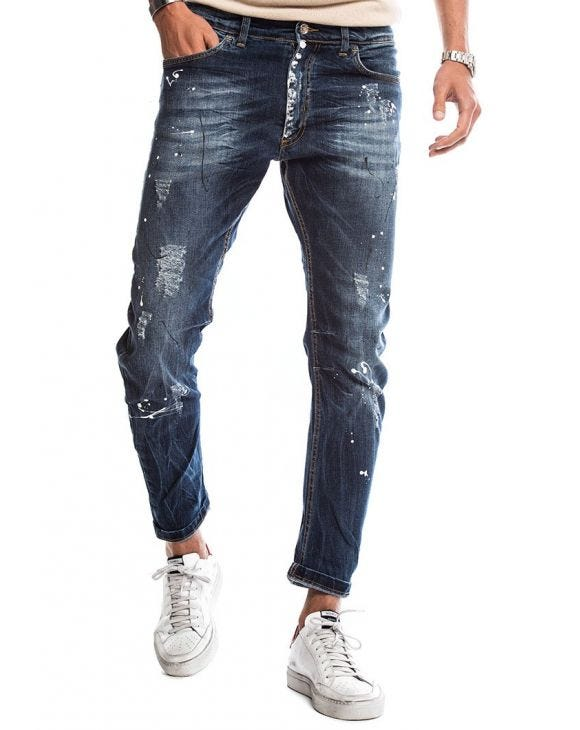 DAVIS DISTRESSED JEANS IN BLUE