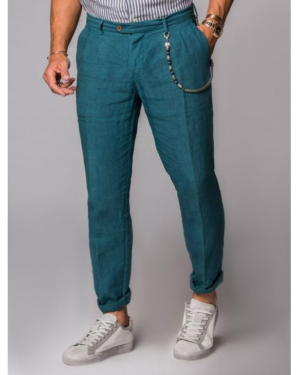 LINEN TROUSERS IN EMERALD