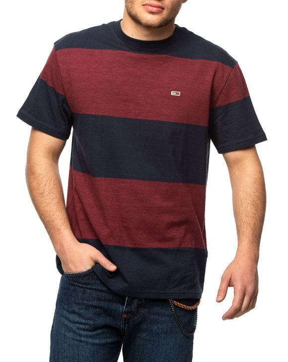 TJM STRIPED T-SHIRT IN BLUE AND BORDEAUX