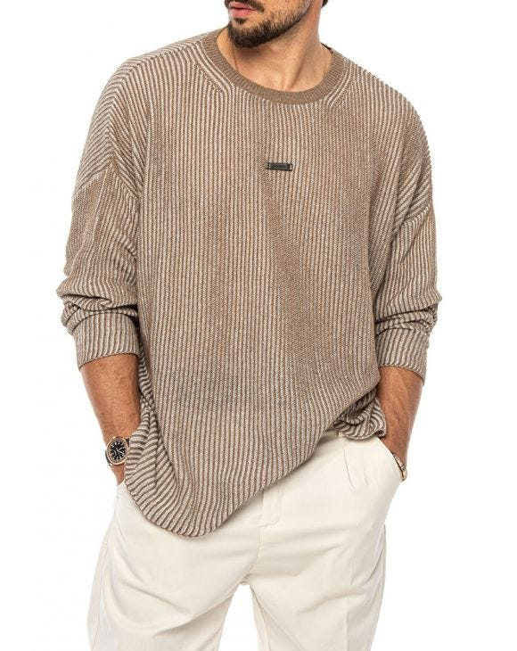 DAVID OVER SWEATER IN BEIGE AND WHITE