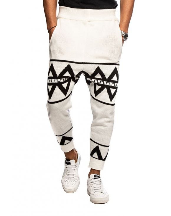 AJAY CASUAL PANTS IN WHITE AND BLACK