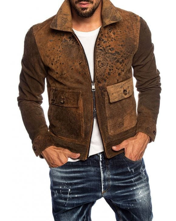 MATTHEW AVIATOR JACKET IN BROWN