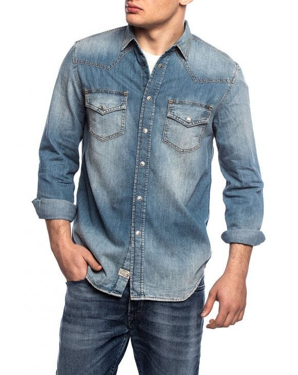 D-EAST CAMICIA BLU IN DENIM