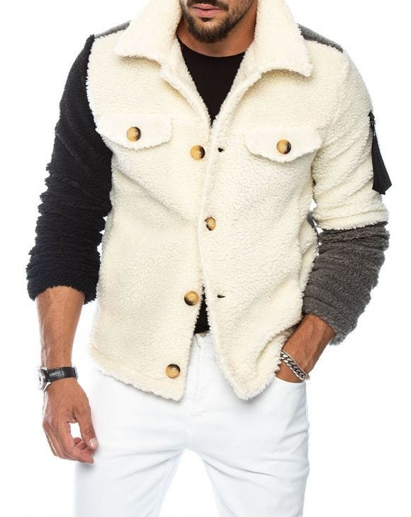 MIKE SHEARLING PATCHWORK JACKET