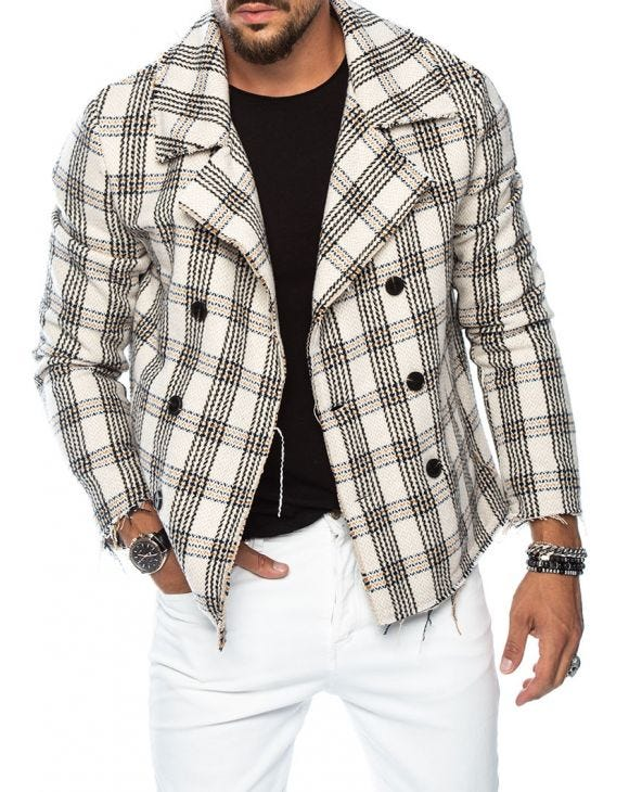 PENNYWISE CHECKED PEACOAT IN WHITE