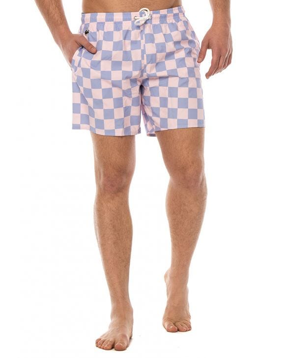 LACOSTE LIVE CHECKERBOARD SWIMMING TRUNKS