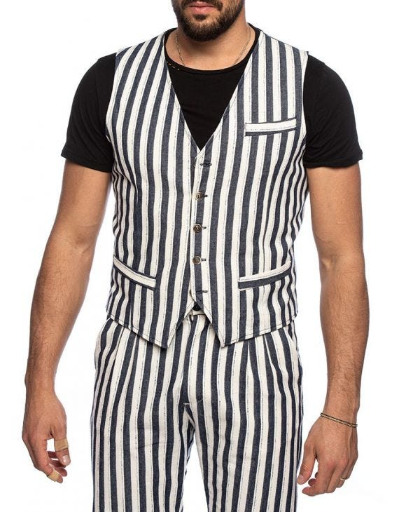 CONNELL VEST IN BLUE AND WHITE
