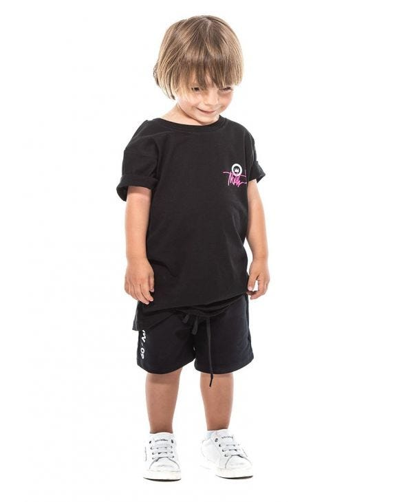 KID'S FLUO TAG NHW T-SHIRT IN SCHWARZ