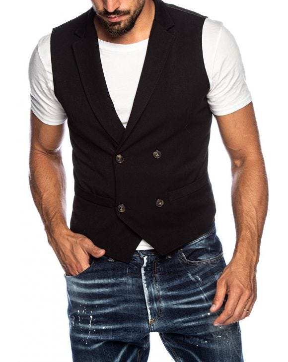 FREDDY DOUBLE BREASTED VEST IN BLACK