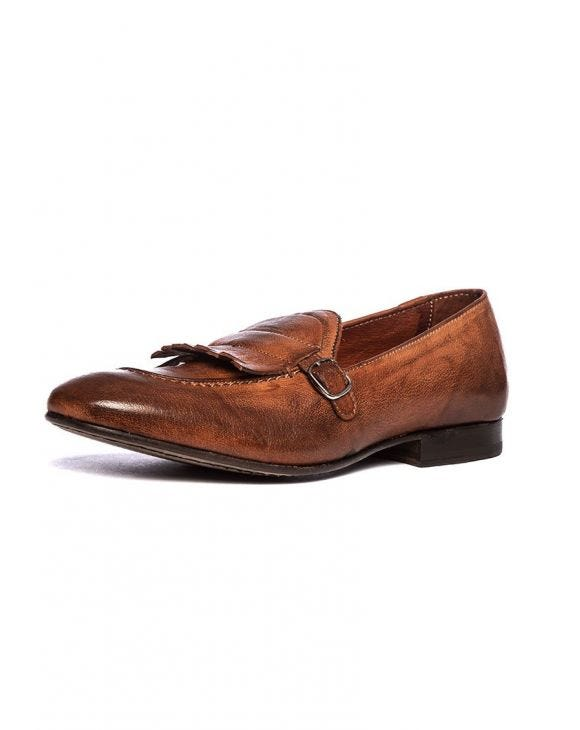 ARIS MONK STRAP SHOES IN COGNAC