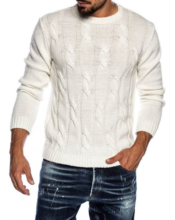 QUILO CREWNECK SWEATER IN WHITE