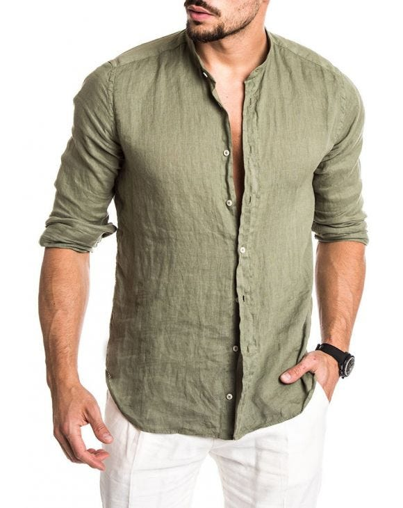 GREEN LINEN KOREAN SHIRT