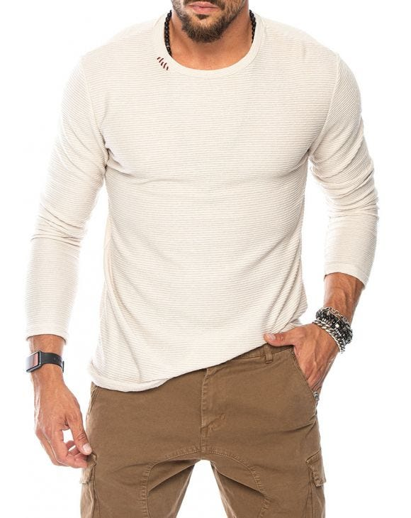 JONTY LONG SLEEVE T-SHIRT IN WHITE